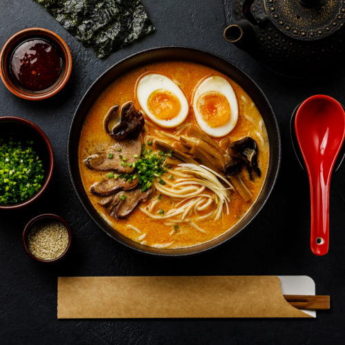 Ramen Asian Noodle In Broth With Beef Tongue Meat, Mushroom And