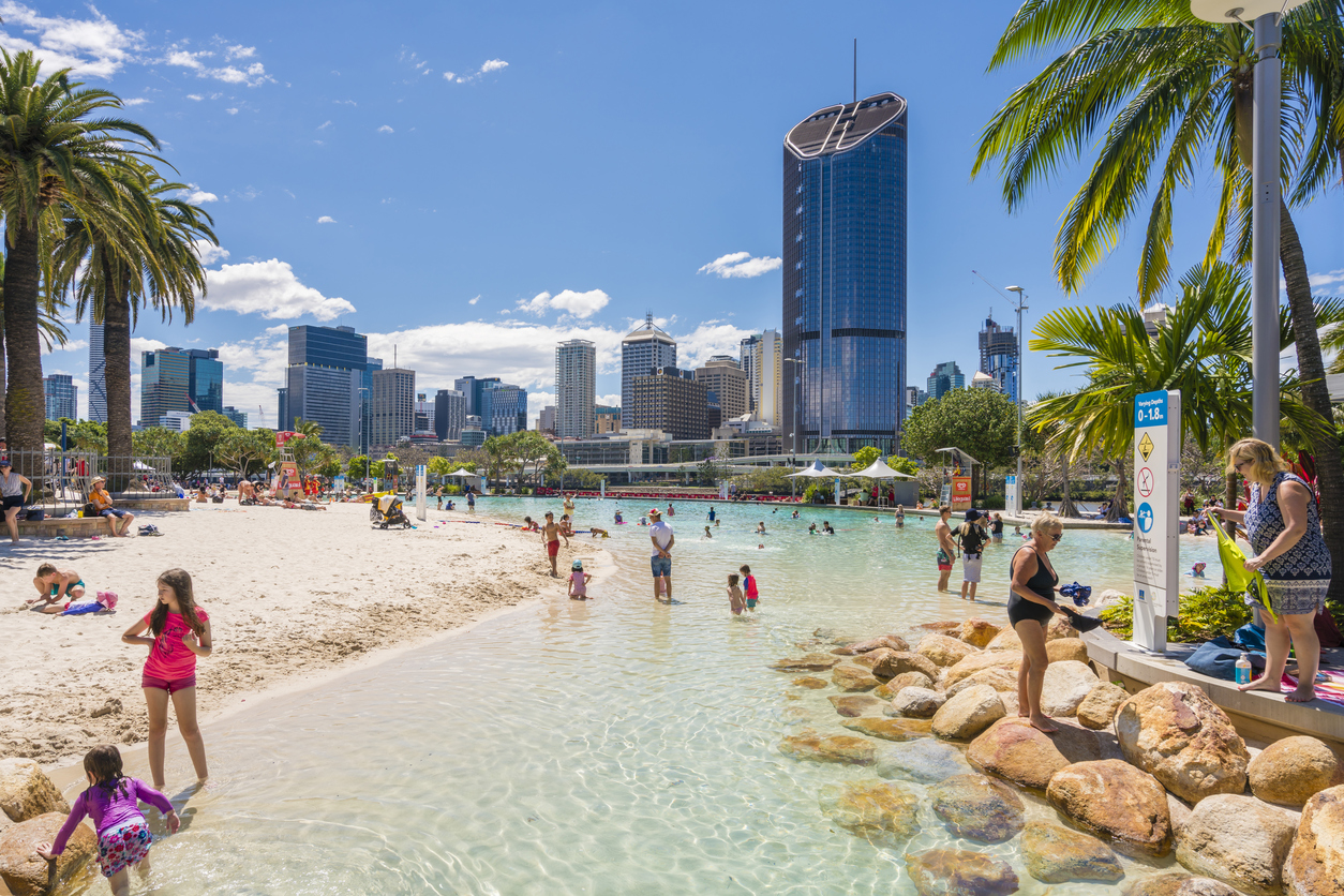 Streets Beach And Skyscrapers In Brisbane